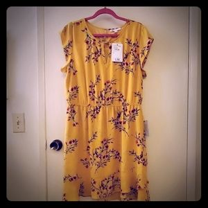 NWT Yellow DR2 floral Dress in XL